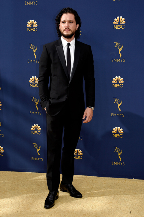 Kit-Harrington-offical-in-a-black-peak-lapel-tux-and-black-long-tie