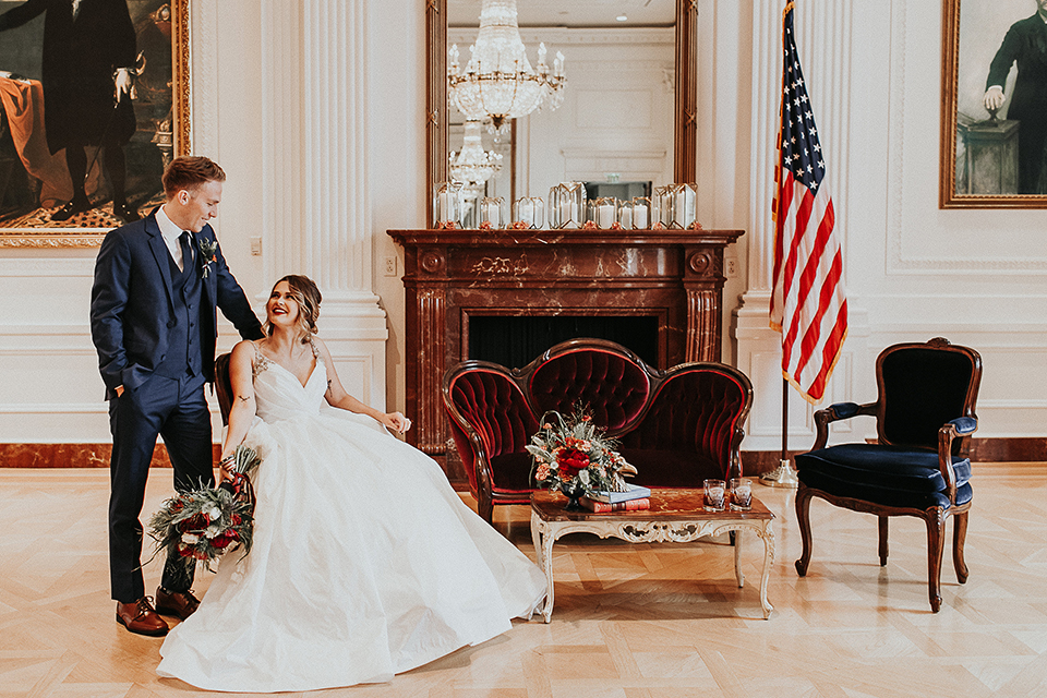 Orange-county-elegant-wedding-shoot-at-the-nixon-library-bride-and-groom-sitting