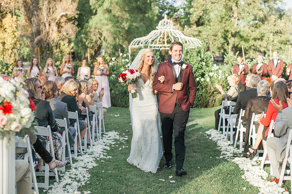 Autumn-inspired-wedding-at-coto-valley-country-club-ceremony-bride-and-groom-walking
