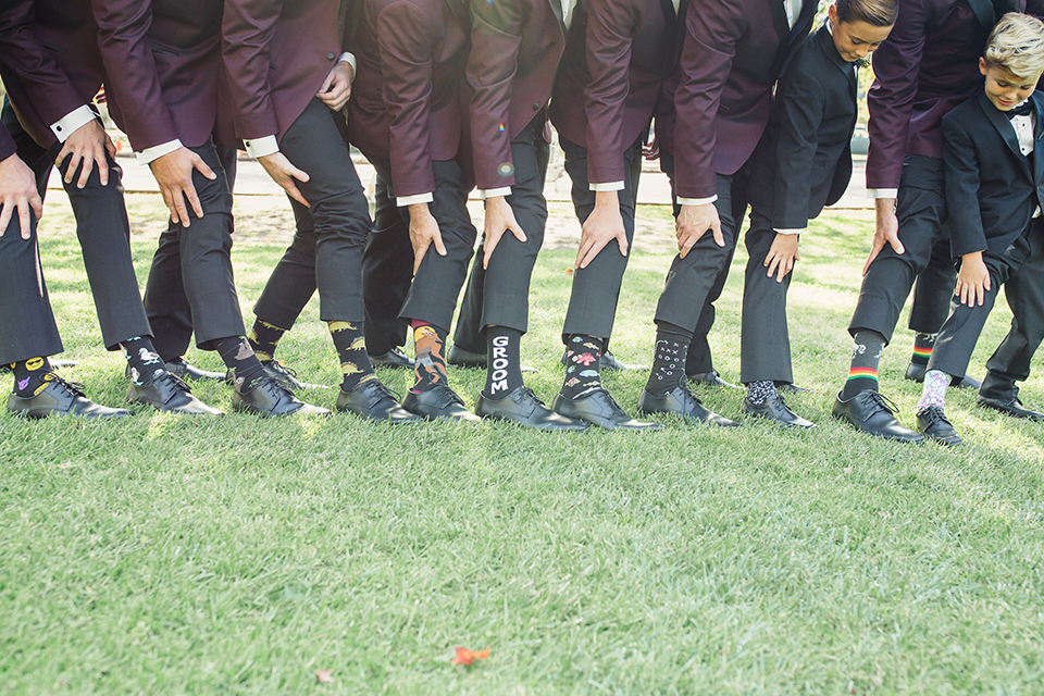 Autumn-inspired-wedding-at-coto-valley-country-club-groom-with-groomsmen-socks