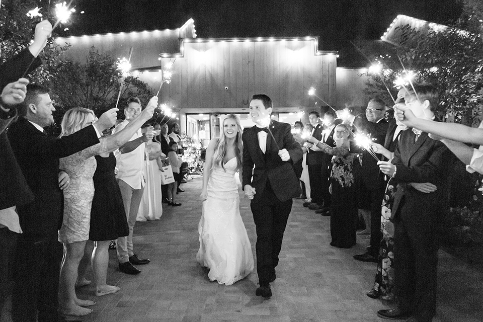 Autumn-inspired-wedding-at-coto-valley-country-club-reception-sparkler-exit-black-and-white-photo