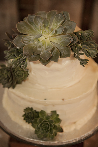 Rustic-barn-outdoor-wedding-white-wedding-cake-with-succulent-decor