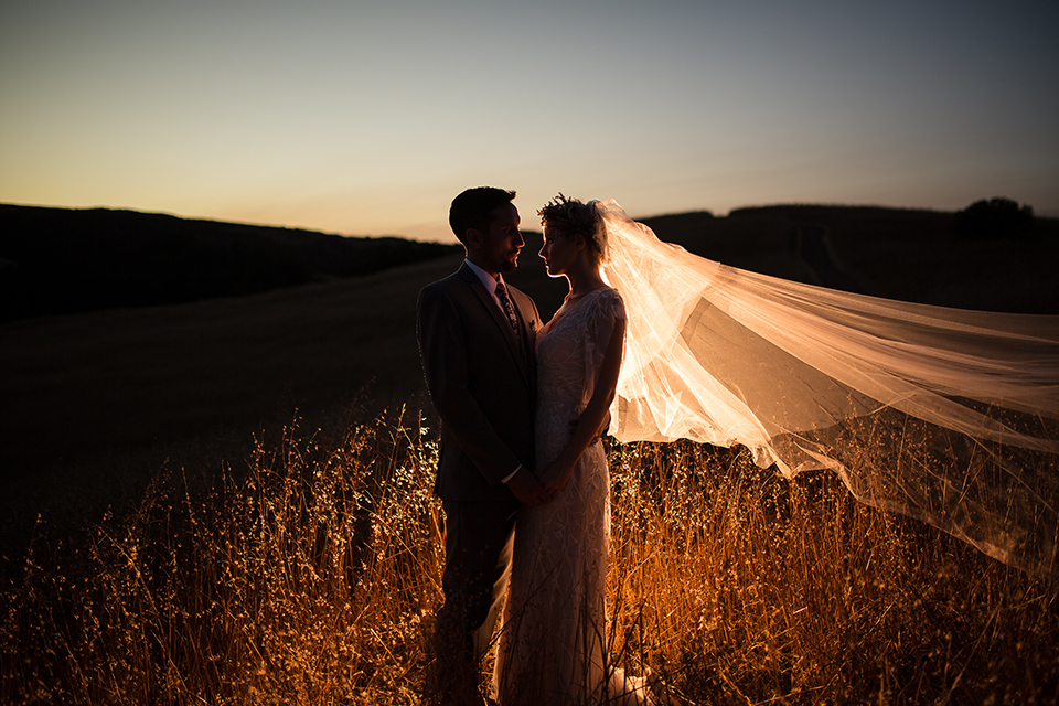 Bohemian-outdoor-wedding-shoot-bride-and-groom-sunset