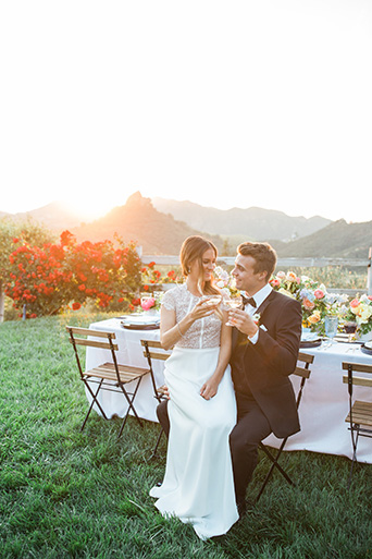 Cielo-Farms-Wedding-Couple-Toasting