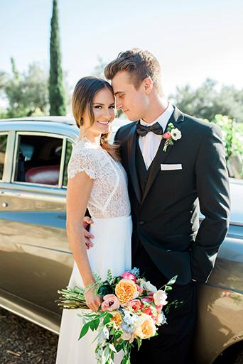 Cielo-Farms-Wedding-Couple-on-Car