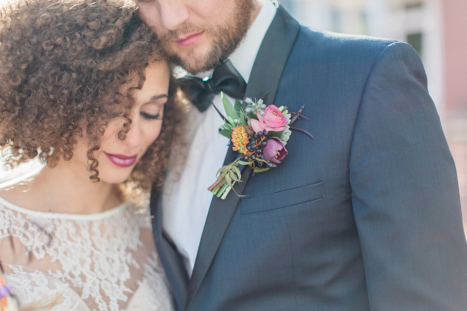 Colorful-bohemian-wedding-shoot-bride-and-groom-standing-close-up