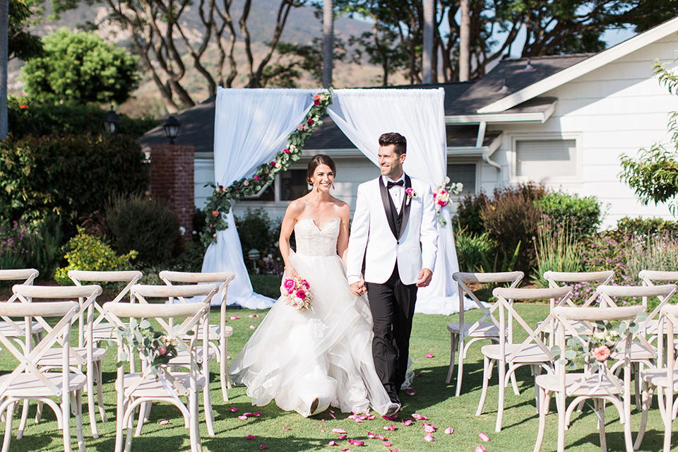 Santa-barbara-outdoor-wedding-bride-and-groom-ceremony-walking