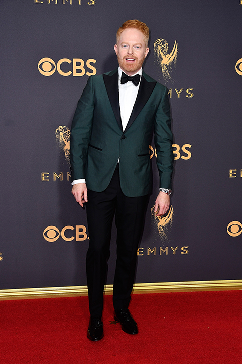 2017-emmys-green-tuxedo-coat-with-black-bow-tie-and-black-pants