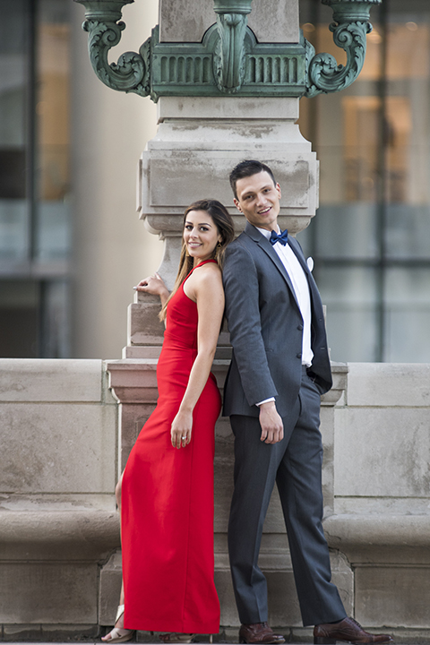 Chicago-outdoor-engagement-shoot-bride-and-groom-standing