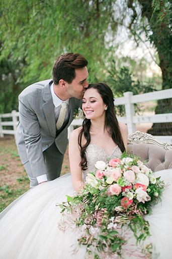 FairyTale-Wedding-Couple-Forehead-Kiss