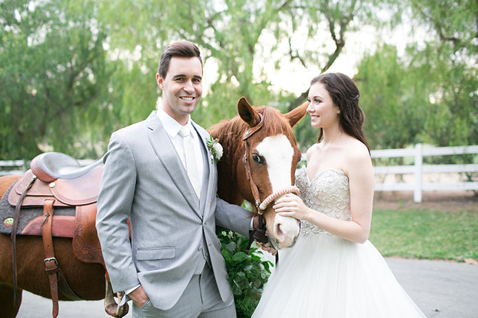 FairyTale-Wedding-Couple-With-Horse-Smiling