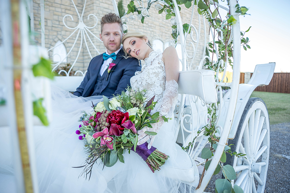 Fit-for-royalty-wedding-shoot-bride-and-groom-sitting-in-carriage