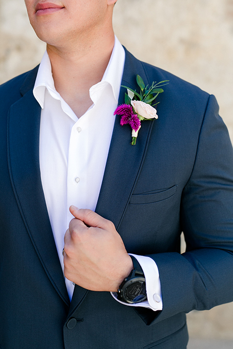 San-juan-capistrano-wedding-shoot-at-franciscan-gardens-groom-blue-suit-close-up