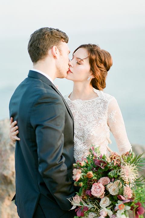 San-diego-outdoor-wedding-shoot-hawaiian-inspiration-bride-and-groom-kissing-close-up