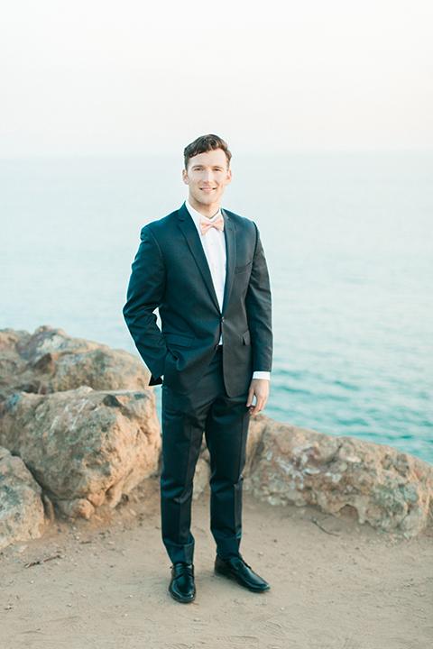 San-diego-outdoor-wedding-shoot-hawaiian-inspiration-groom-navy-suit-bow-tie