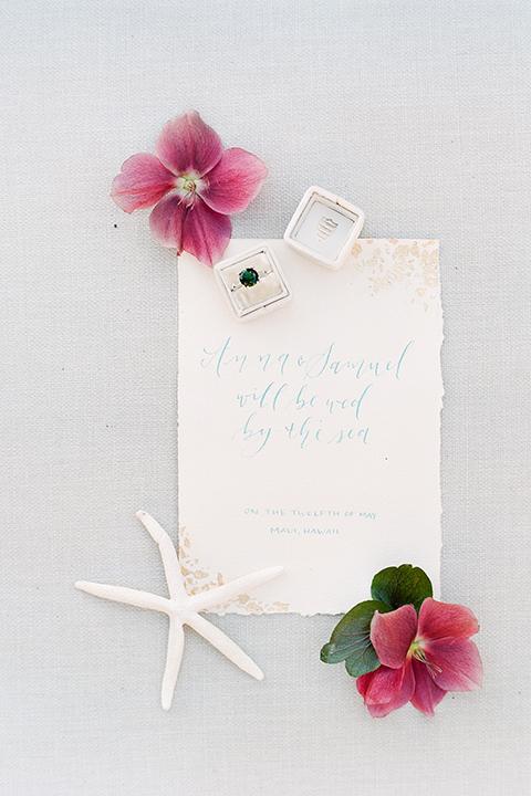 San-diego-outdoor-wedding-shoot-hawaiian-inspiration-wedding-invitation-with-flowers