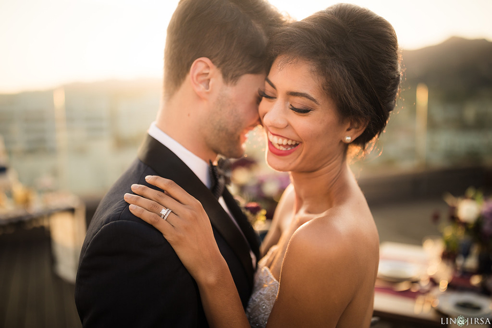 Los-angeles-wedding-shoot-hollywood-roosevelt-bride-and-groom-hugging-and-laughing