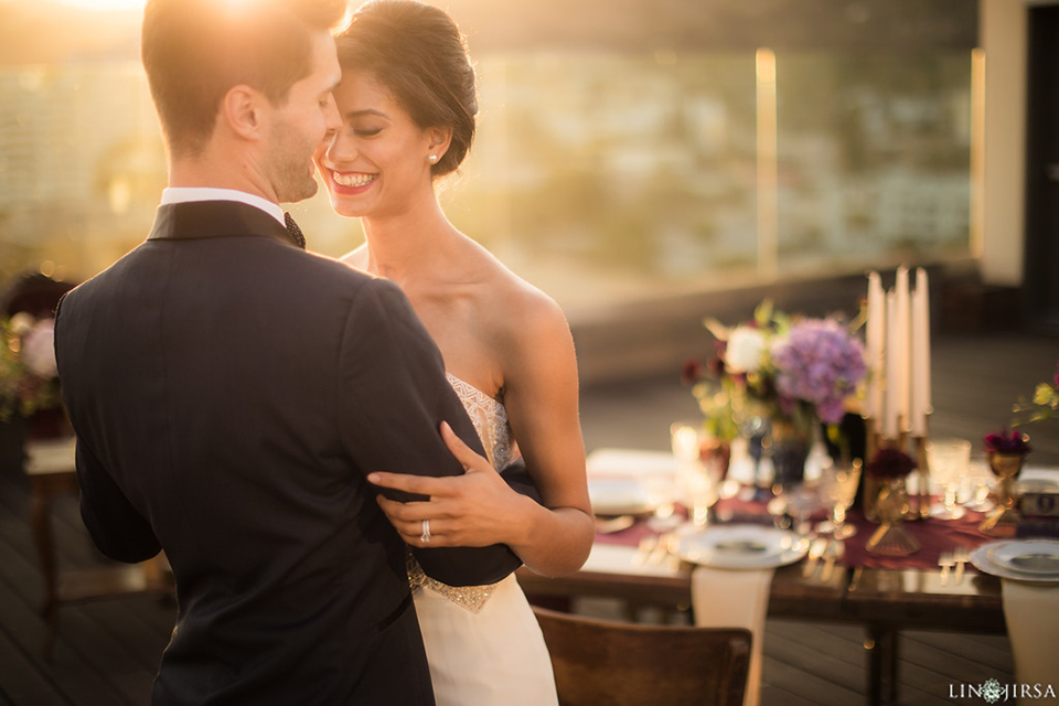 Los-angeles-wedding-shoot-hollywood-roosevelt-bride-and-groom-hugging-and-smiling