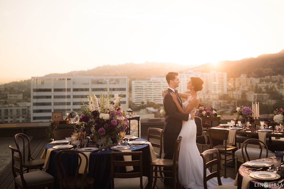 Los-angeles-wedding-shoot-hollywood-roosevelt-bride-and-groom-hugging-far-away