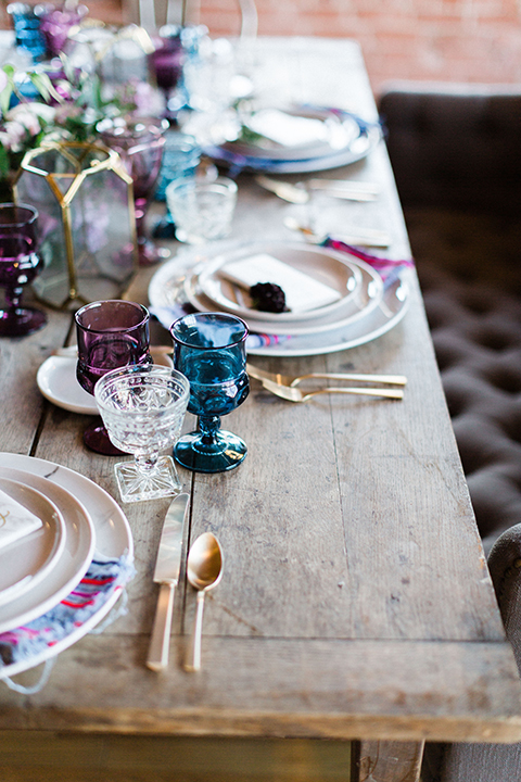 Long-beach-wedding-shoot-at-howl-table-set-up-with-place-settings-and-glassware