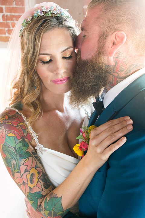 Long-beach-wedding-shoot-at-howl-bride-and-groom-standing-kissing