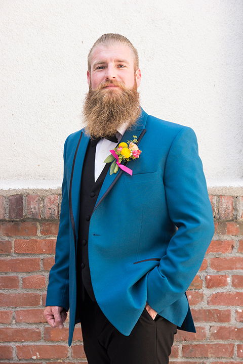 Long-beach-wedding-shoot-at-howl-groom-teal-tuxedo