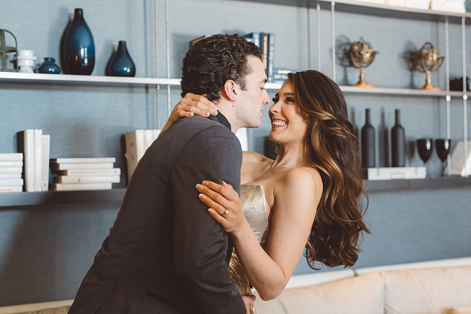 Los-angeles-wedding-shoot-in-santa-monica-bride-and-groom-hugging-and-smiling