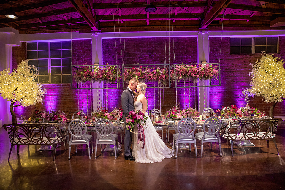 Los-angeles-wedding-at-the-p-bride-and-groom-standing-by-table