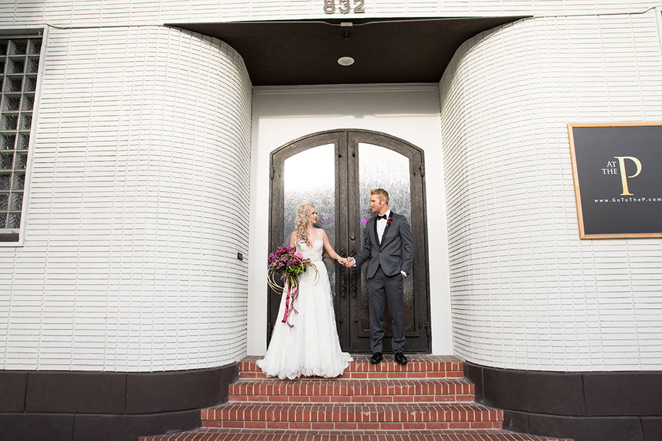 Los-angeles-wedding-at-the-p-bride-and-groom-standing-holding-hands