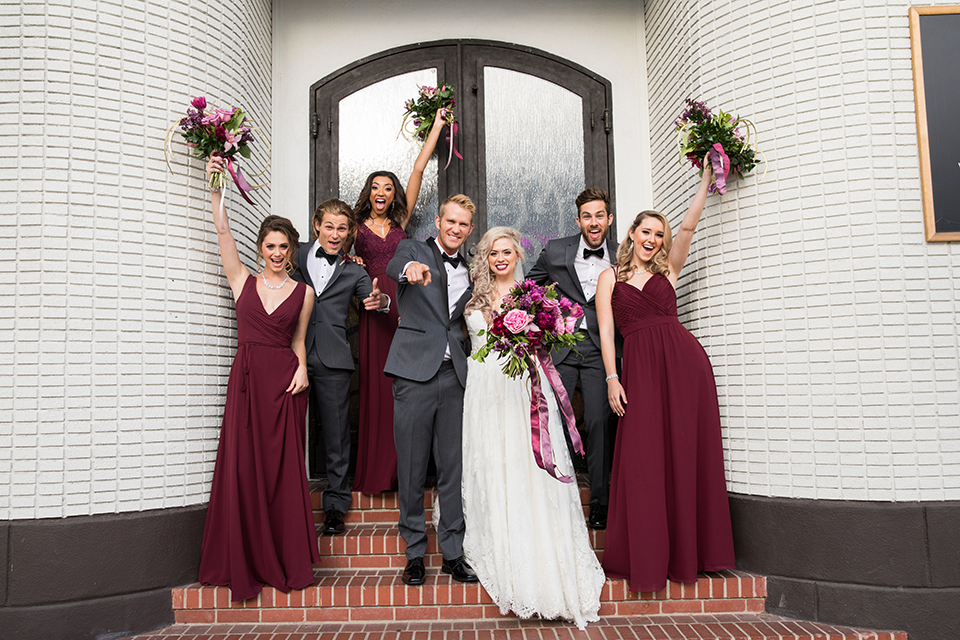 Los-angeles-wedding-at-the-p-bride-and-groom-with-wedding-party-cheering