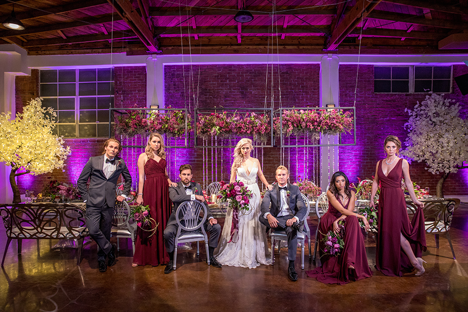 Los-angeles-wedding-at-the-p-bride-and-groom-with-wedding-party-sitting-at-table