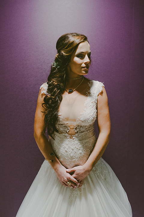 San-diego-outdoor-wedding-shoot-at-viejas-casino-and-resort-bride-tulle-ballgown-with-lace-detail-and-high-neckline
