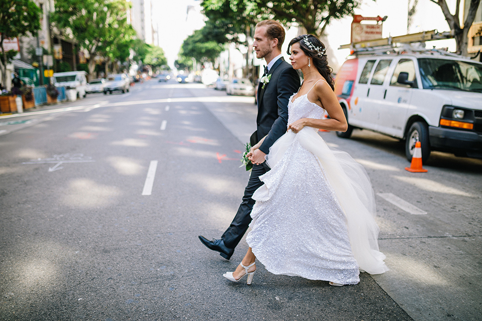 Los-angeles-wedding-at-the-majestic-bride-and-groom-walking