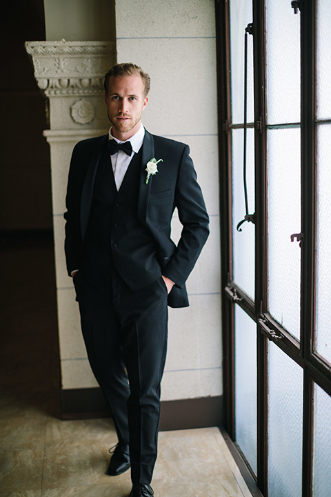Los-angeles-wedding-at-the-majestic-groom-black-tuxedo