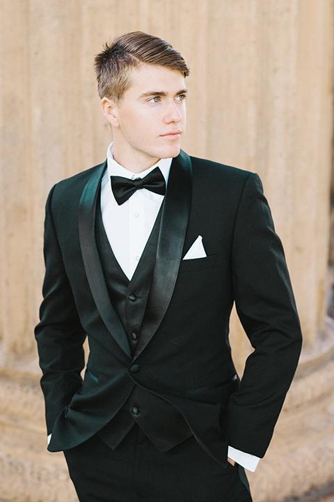 San-francisco-palace-wedding-shoot-groom-black-tuxedo-black-bow-tie