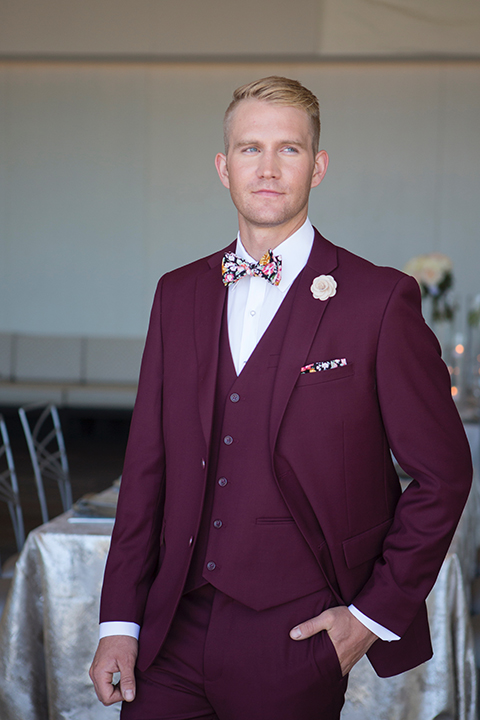 Orange-county-wedding-shoot-at-pasea-hotel-groom-burgundy-suit-with-a-floral-bow-tie