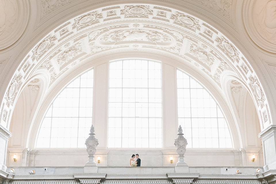 San-francisco-glamorous-wedding-at-city-hall-bride-and-groom-far-away