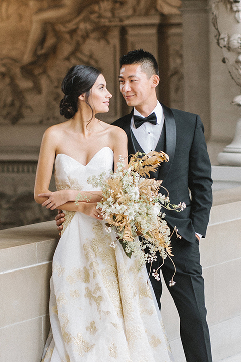 San-francisco-glamorous-wedding-at-city-hall-bride-and-groom-hugging-and-smiling-close-up