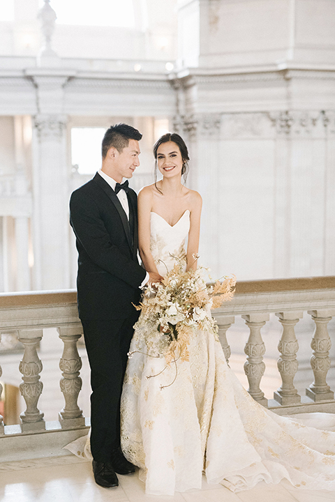 San-francisco-glamorous-wedding-at-city-hall-bride-and-groom-smiling