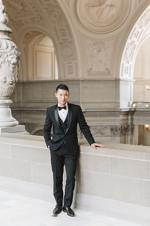 San-francisco-glamorous-wedding-at-city-hall-groom-black-tuxedo
