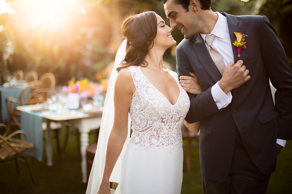 Glamorous-backyard-wedding-shoot-at-a-private-estate-bride-and-groom-smiling
