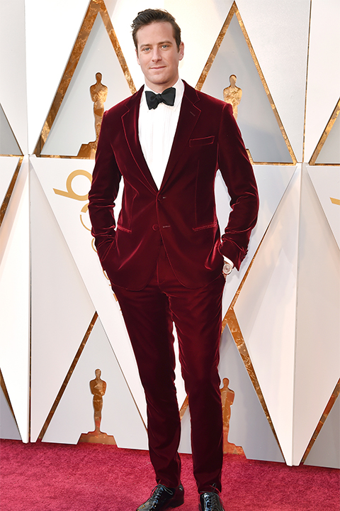 2018-academy-awards-armie-hammer-burgundy-velvet-tuxedo-with-black-bow-tie