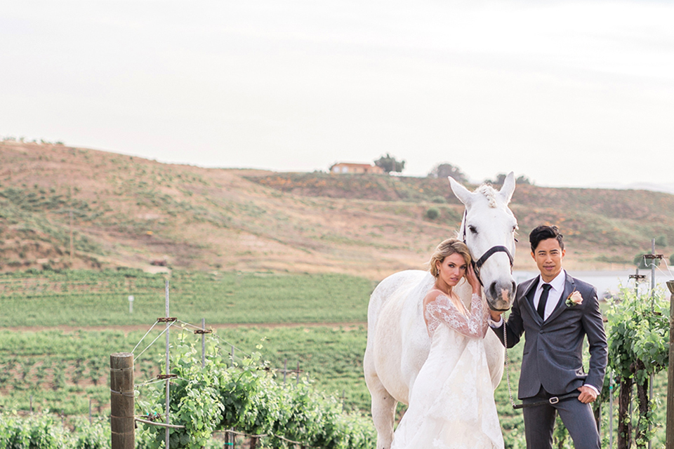 temecula-wedding-avensole-winery-bride-lace-gown-with-sleeves-and-groom-charcoal-tuxedo-with-black-skinny-tie-with-horse