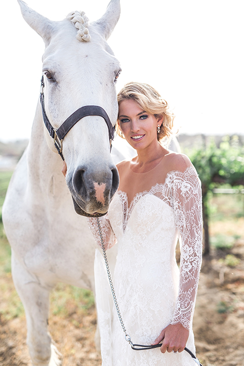 temecula-wedding-avensole-winery-bride-lace-gown-with-sleeves-and-horse