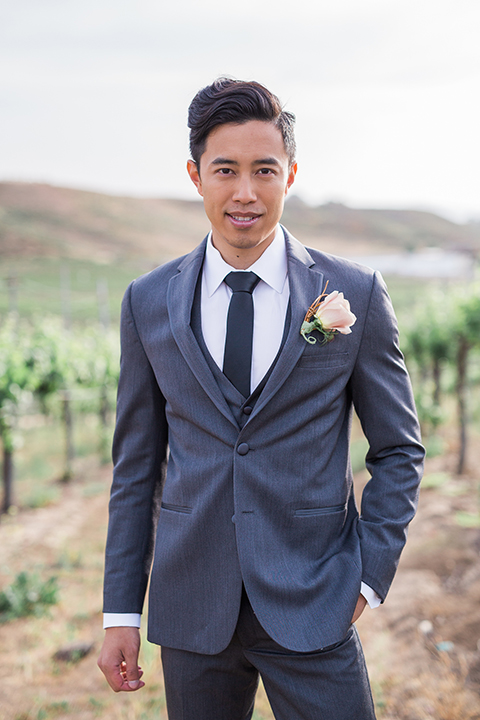 temecula-wedding-avensole-winery-ceremony-groom-charcoal-tuxedo-hands-in-pocket