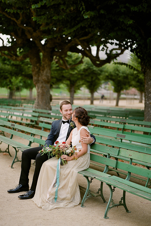 San-francisco-wedding-shoot-at-the-golden-gate-park-bride-and-groom-sitting-smiling-side-view