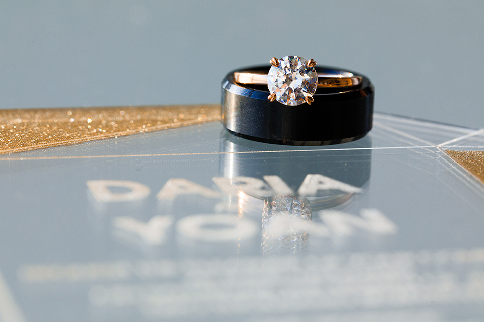 Downtown-los-angeles-wedding-shoot-at-oue-skyspace-wedding-invitations-and-wedding-rings