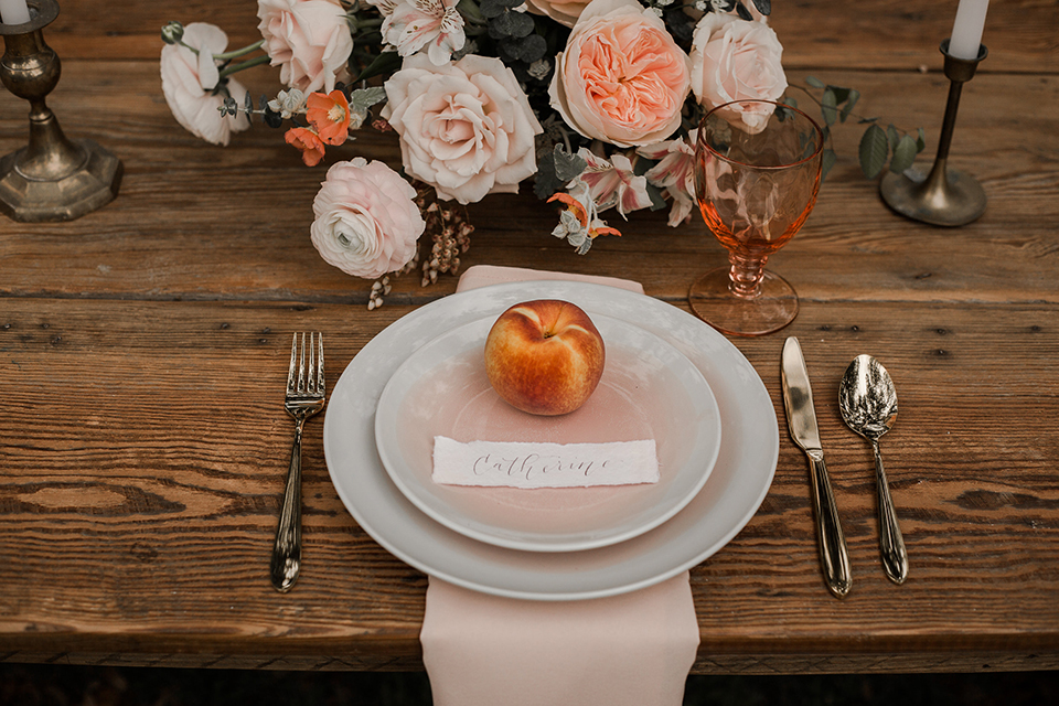 Texas-peaches-and-cream-wedding-shoot-at-carola-horse-ranch-table-set-up-with-place-setting