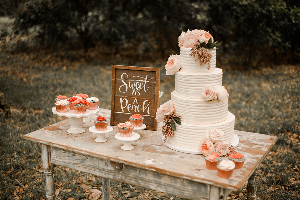 Texas-peaches-and-cream-wedding-shoot-at-carola-horse-ranch-wedding-dessert-table-with-cake