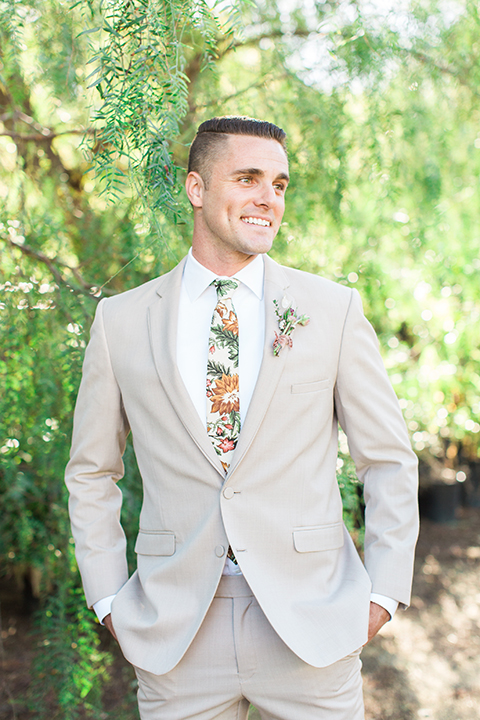 Los-angeles-garden-wedding-at-retreat-malibu-groom-tan-suit-with-floral-tie